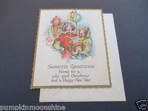 Vintage Unused Art Deco 1930's Xmas Greeting Card Holiday Carolers Singing