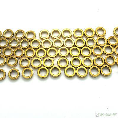 Natural Hematite Gemstones Round Ring Spacer Loose Beads Gold 12mm 16'' Strand