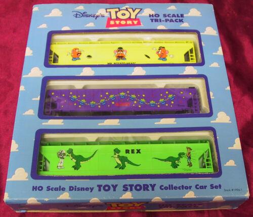 DISNEY TOY STORY EXPRESS 1996 HO SCALE TRI-PACK 3 ELECTRIC TRAIN CAR SET BOX NIB