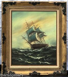 Ben-Richmond-Oil-Painting-On-Canvas-Ship-on-High-Seas-Framed-Signed