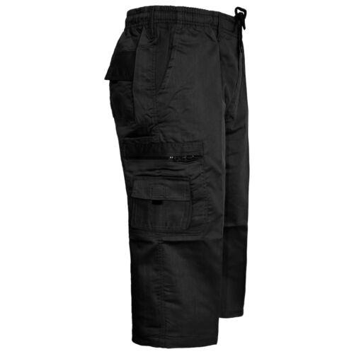 MENS CARGO SHORTS ELASTICATED COMBAT BOYS CASUAL SUMMER BEACH POLY COTTON PANTS