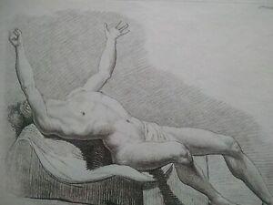 Rare curiosa gravure en manière de crayon XVIIIème L. Bonnet nu académie homme