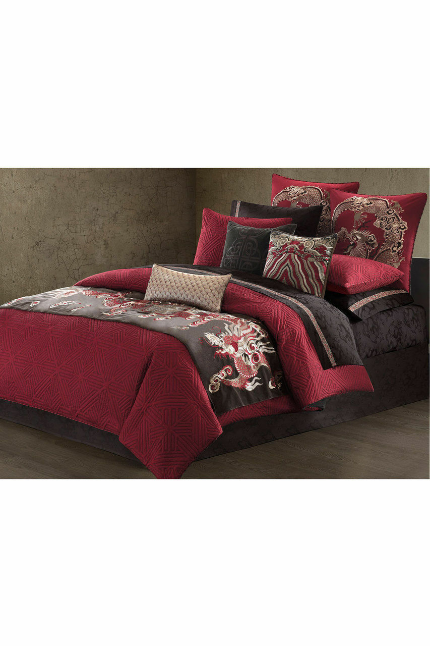 Natori  Fretwork Dragon rouge and Chocolate Quilted King Duvet Cover  NIP