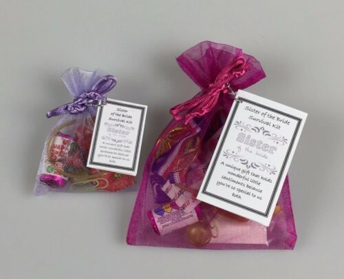 Sister of the Bride Survival Kit unusual Wedding Favour Thank You keepsake Gift