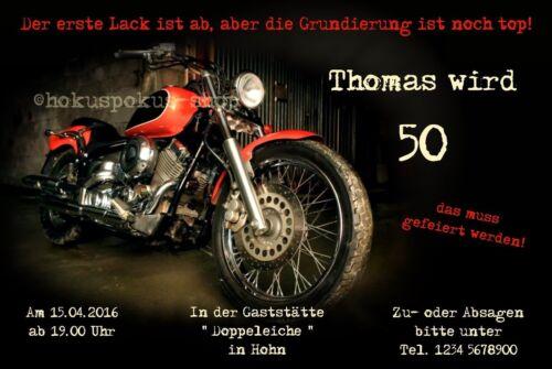 20 Invitation Cards Birthday Motorcycle Biker Invitations Any Age Party