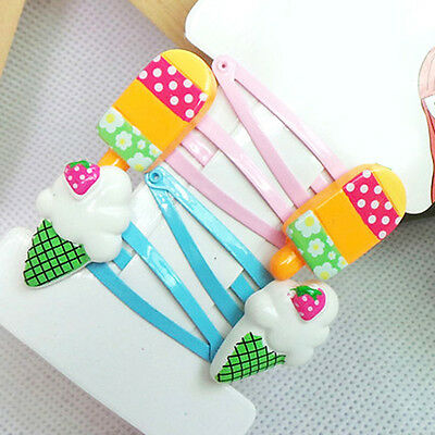 4 Pcs Mixed Icecream Cartoon Hair Clips Snaps Girl Kid One Set 4CM  High Quality
