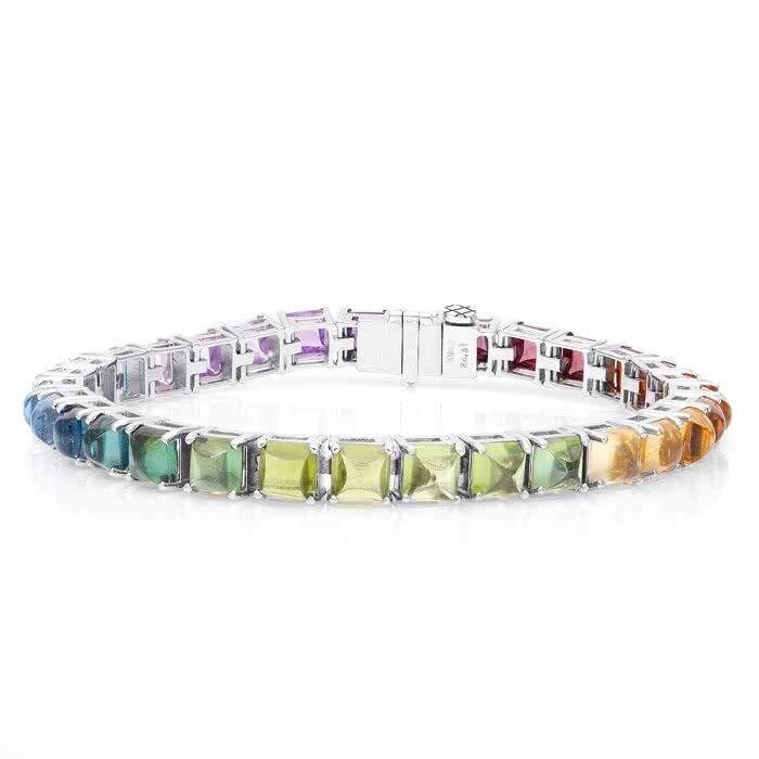 Natural Gemstones 24.61 carats set in 18K White gold Bracelet