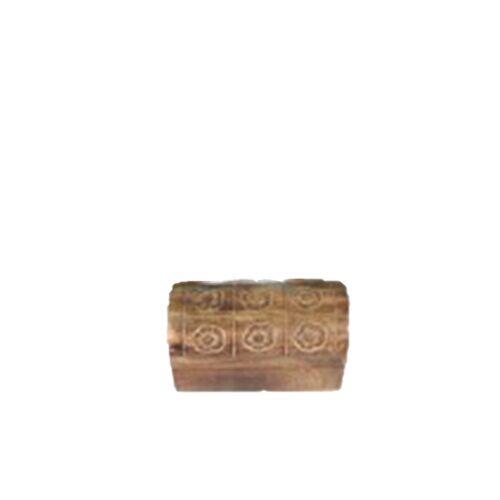xxx Truhe mit rundem Deckel aus Mangoholz mit Blumen Design in Größe S//M//L