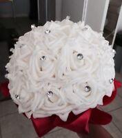 Wedding Bride/bridesmaid Handmade Bouquet Ivory Flower Rose Crystal Red Ribbon
