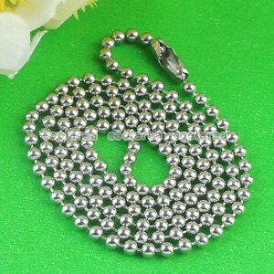 1x-2mm-Mens-Punk-Stainless-Steel-Ball-Metal-Chain-Necklace-For-Pendant-Beads