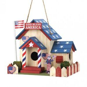 Home Garden Decor Patriotic Usa Red White Blue Bird House Birdhouse
