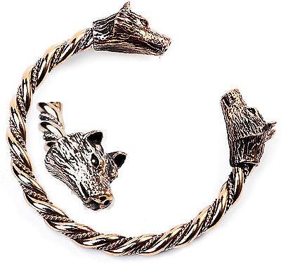 Massiv Bronze Armreif Gr.l Wolfarmreif Wikinger Armspange Wolf Mittelalter Larp