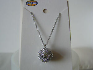 Fossil-Brand-Silver-Tone-Stainless-Steel-Star-Night-Pave-Pendant