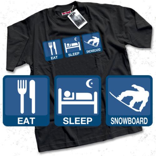 Eat Sleep snowboard T-shirt Homme Noir Snowboard WOW