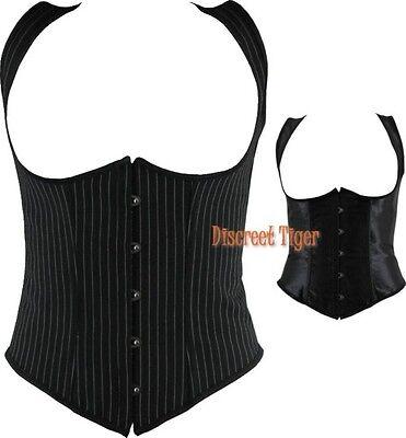Steampunk Underbust Corset Vest Top Satin New Gangster Pinstripe Cotton or Satin