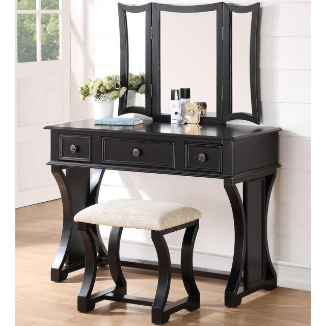 Tri Folding Mirror Vanity Makeup Dresser Table Stool Bench Set 3 Drawers Black