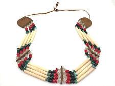 Native American 4 Row Bone Hairpipe Turquoise Bead Leather Choker Belt Headband