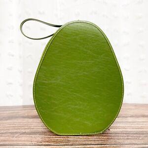 Vintage 60s 70s hat wig travel bag case avocado green zip handle oval