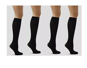2122cab5c8f 4 pair Black 70 Denier Opaque Knee Highs Comfort Top Pop Socks ...