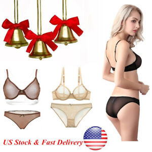 aaccb09993 Womens Sheer Bra Set Unpadded Lingerie Mesh lace Bralette Bra Plus ...