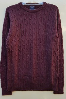 "Men`s New Boston Crew Lambswool Rich Cable Knit Jumper Size Medium 40/"" Burgundy"