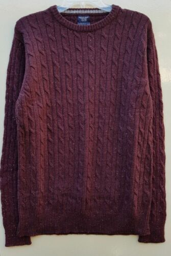 """Men`s New Boston Crew Lambswool Rich Cable Knit Jumper Size Large 42/"""" Burgundy"""