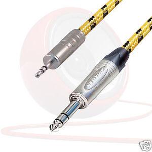 """Stereo Mini jack to Stereo 1/4"""" jack Lead. Vintage Tweed Cable Neutrik Headphone"""
