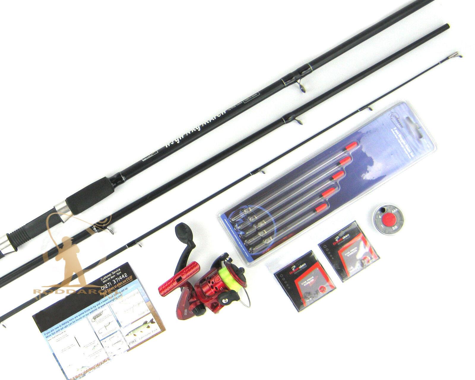 Complete Starter Float Fishing Outfit Set Kit Carbon Rod Reel Hooks Floats shot