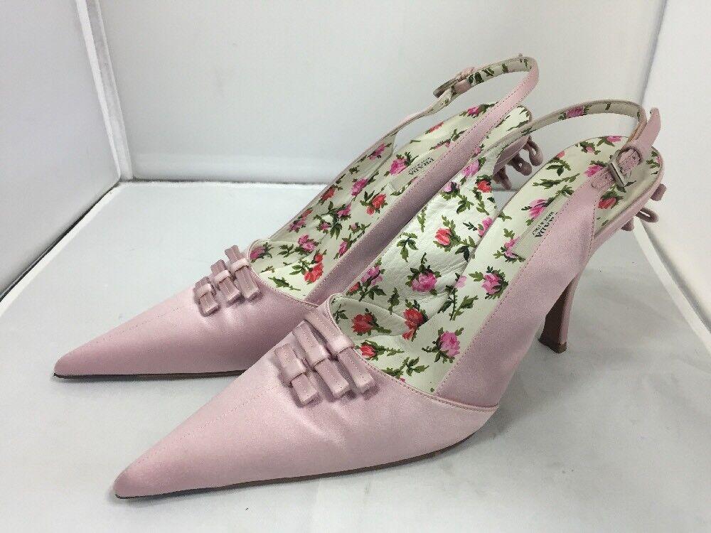 damen Elegant Dusky Rosa Prada Satin Heels Slingbacks Floral Insole Bows UK 5