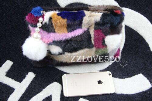 Luxury Women Fur Clutch Multi Color Handbag Purse with Fur Ball