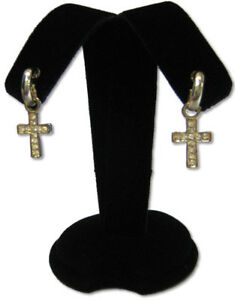 "NEW 4/""H BLACK VELVET EARRING JEWELRY DISPLAY STAND TOP CASE RD7B1"
