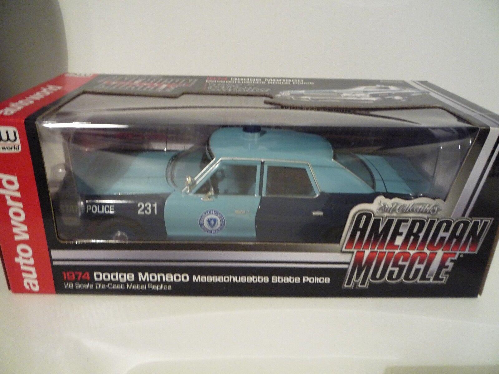 Auto world 1 1 1 18 AMM1023 - Dodge Monaco Police Massachusetts 1974 1a2fb9