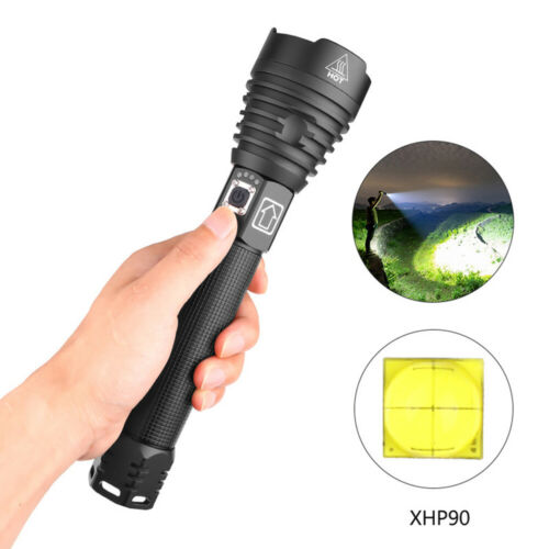 2500 Lumens Zoomable XHP90 LED USB Flashlight Torch Super Bright camping
