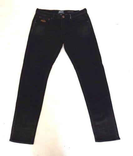Neuf avec étiquettes Superdry M70LJ002 hiver Wilson conique noir vieilli jeans homme taille 34 et 36