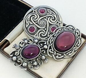 Vintage-Style-3-Amethyst-Purple-Scottish-Celtic-Knot-Silvertone-Brooch-Pin