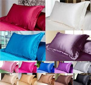 1X-Silk-Satin-Duvet-Cover-Silky-Bedding-Set-Fitted-Sheet-Pillow-Cases-Cushion