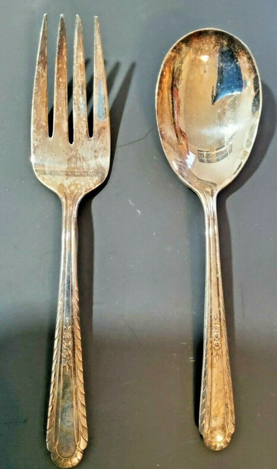 """Image 1 - H  T Mfg. Co. Wentworth Serving Fork And Serving Spoon 7 3/8"""" Silverplate"""