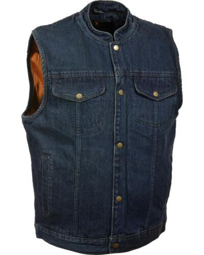 Milwaukee Leather Men/'s Snap Front Denim Club Style Vest W// Gun Pocket
