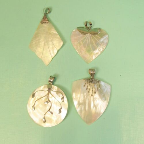Wholesale 4 PCS Mother of Pearl Shell 925 Bali Sterling Silver Handmade Pendant