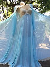 Spectacular 1970's Vintage Lucie Ann Blue Peignoir Robe & Nightgown Set