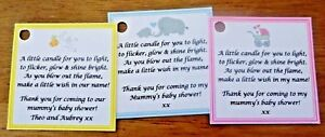 Personalised Baby Shower Candle Favour Tags Labels