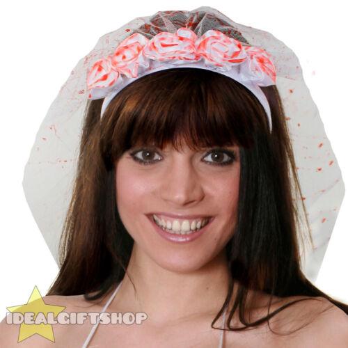 LADIES ROSE VEIL HEADBAND FLOWER ADULTS HALLOWEEN DAY OF THE DEAD FANCY DRESS