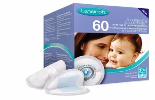Lansinoh 60 Almohadillas desechables súper absorbente de enfermería Ultra Delgada Natural Fit Nueva