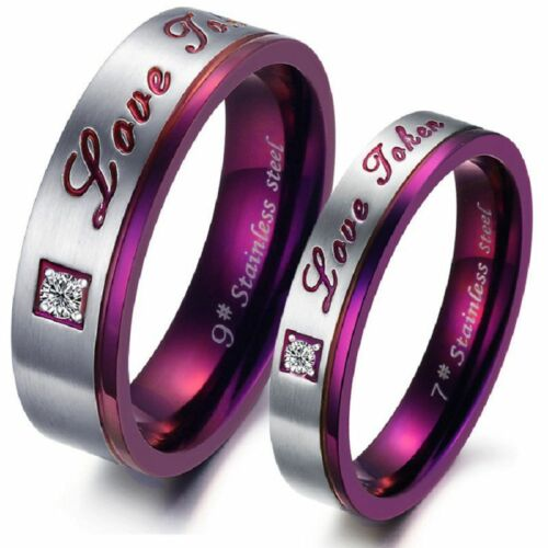 Anillo de pareja de acero inoxidable anillo de pareja amor circonita lila plata Love regalo