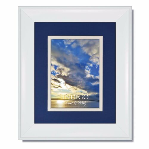 Set of 6 16x20 Metro White Picture Frame with BlueWhite Mat to fit 12x16 image