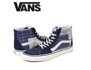 8fef6ee4c8 Vans Sk8-Hi Patchwork Denim Blue White Street Style Fashion Sneakers ...