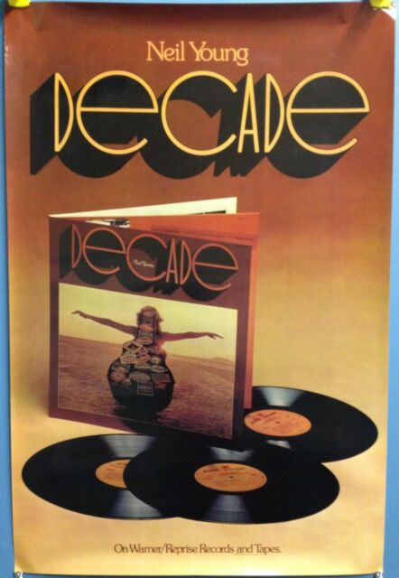 """NEIL YOUNG decade 36"""" x 24"""" USA 1976 Original In Store Reprise Promo Poster"""