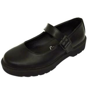 GIRLS-KIDS-CHILDRENS-BUCKLE-T-BAR-BLACK-SCHOOL-PUMPS-DOLLY-SMART-FLAT-SHOES-10-5