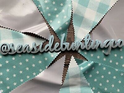Outdoor Bunting Decor Oilcloth Handmade Nursery Turquoise Teal Gingham