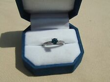 vintage .61 ct. blue diamond 14k white gold ring .93ctw size 6